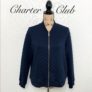 CHARTER CLUB BLUE QUILTED JACKET WITH POCKETS